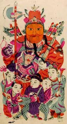 桃花坞木刻年画欣赏之神茶郁垒